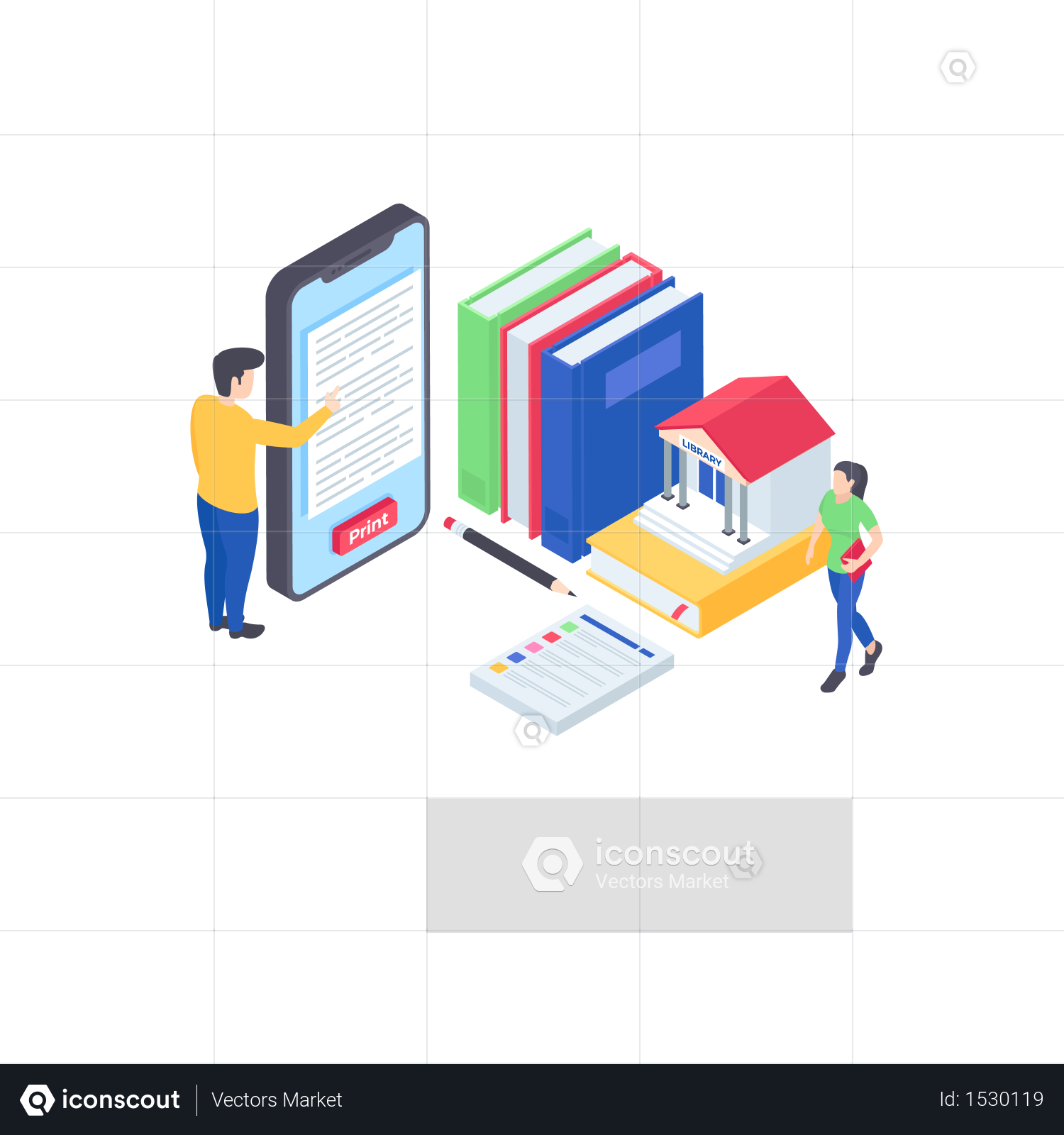 Premium Isometric E Library Illustration download in PNG