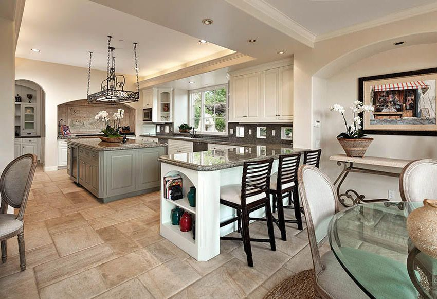 Traditional Kitchen With Partial Open Layout