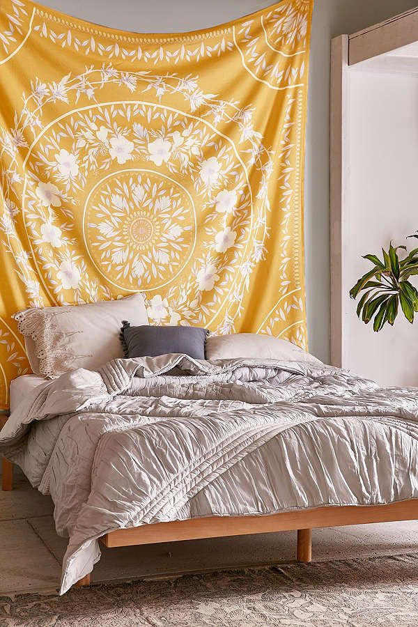 Sketched Floral Medallion Tapestry Yellow Dorm Tapestry