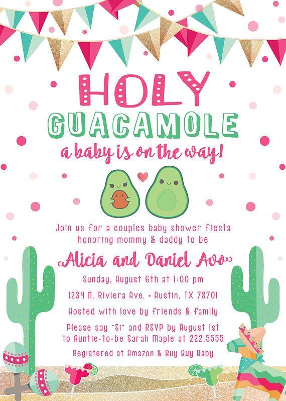 Avocado Fiesta Theme Baby Shower Invitation Mexican