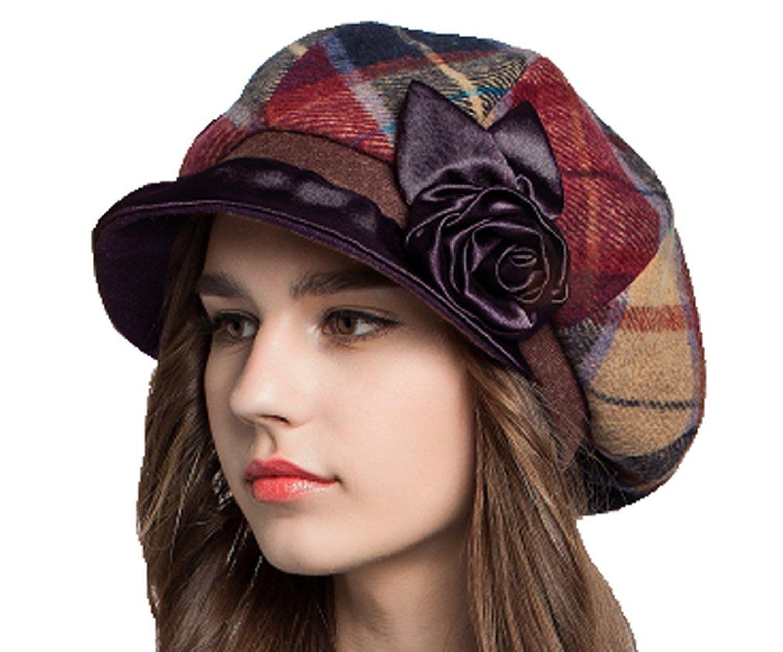 24aab8d6 Supergirl Women's Wool Newsboy Cap Fashion Plaid Homborg Hat Blue at Amazon  Women's Clothing store: