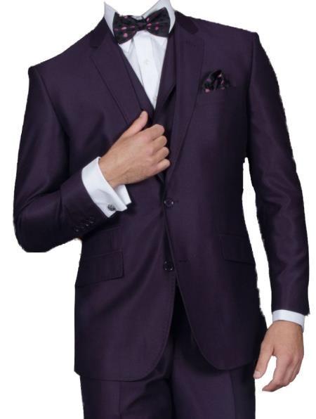 0eccacbfb67 Men s 3 Piece Shiny Flashy Satin Silky Metallic Plum Sharkskin Suit with  Flat Front Pants