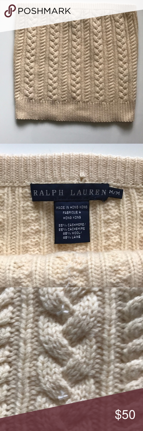 2e367b1c36e  Ralph Lauren  Cream Cable Knit Tube Top  Ralph Lauren  Cream cable knot tube  top. Tiny beading on the front (see last pic). Size M. 55% cashmere 45%  wool.