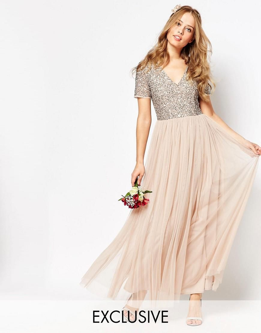 Maya  Maya V Neck Maxi Tulle Dress with Tonal Delicate Sequins at