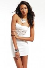 Ponte & Lace Bodycon Tube Dress in White