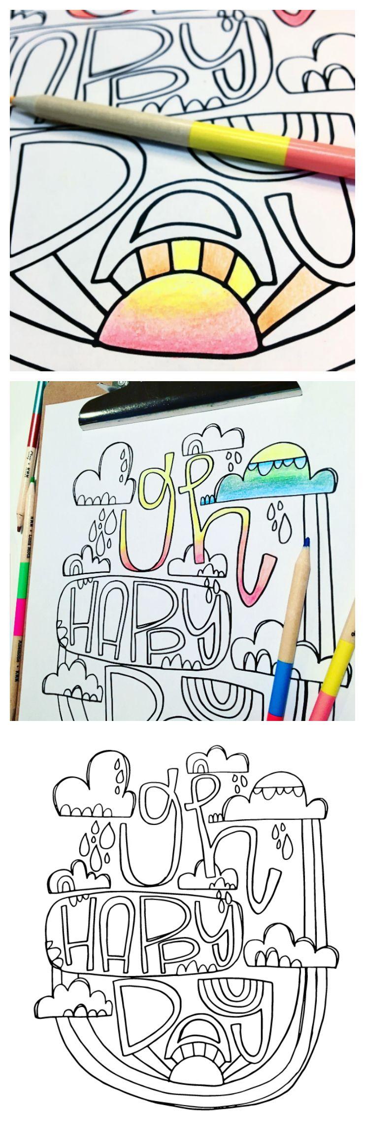 Free Coloring Page - Oh Happy Day | Ilustraciones