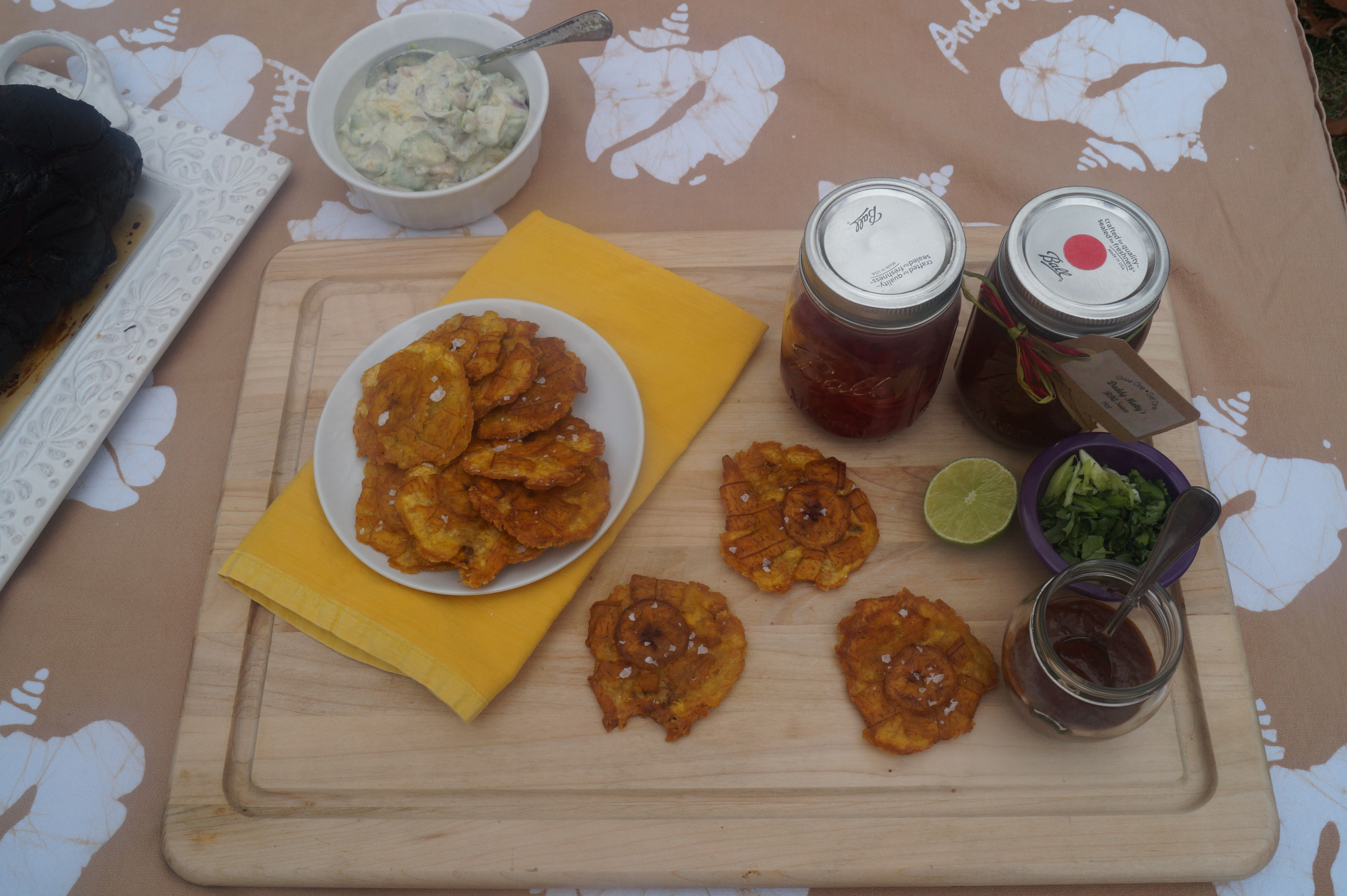 Let's make some Pulled Pork on Tostones with Fresh Fruit Salsa tossed in salty Coconut Milk!
