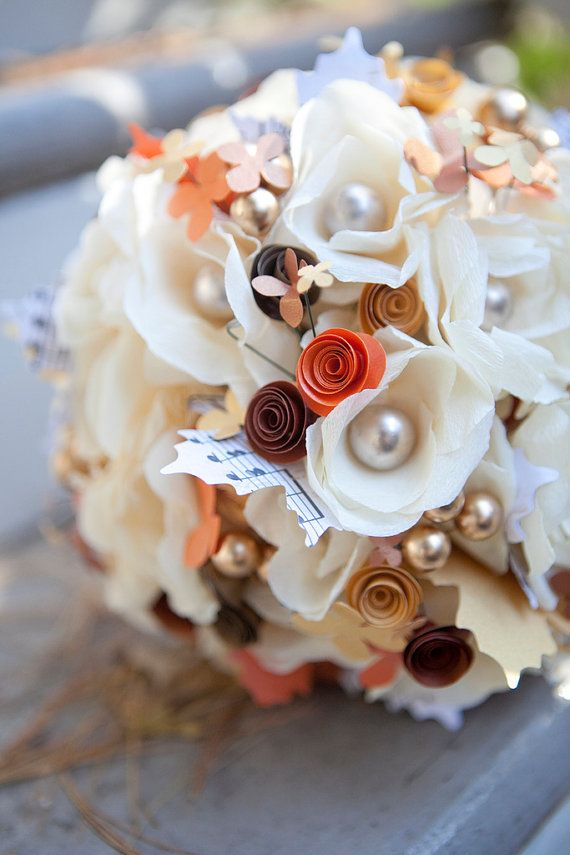 Wedding Bouquet - Paper Flower Bridal Arrangement - Ivory, orange, and gold paper flowers