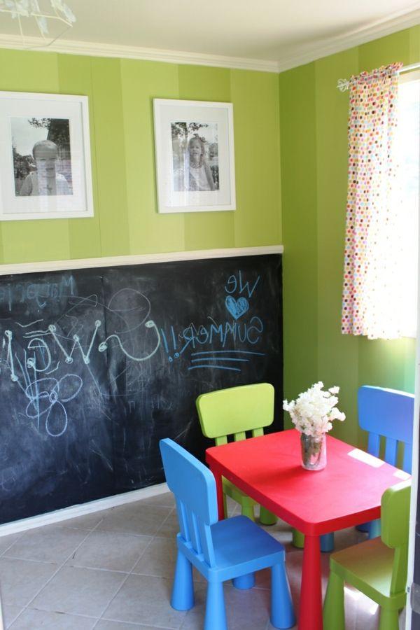 Schön Kinderzimmer Schön Einrichten  Grelle Farben Und Schwarze Kreidetafel