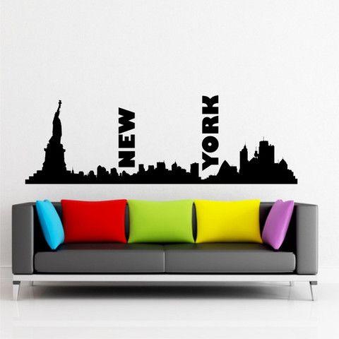 New york cityscape skyline wall sticker decal vinyl