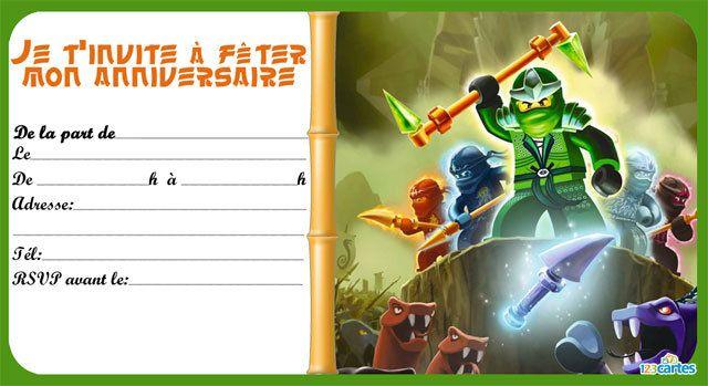 Invitation Anniversaire Lego Ninjago 123 Cartes Lego Ninjago