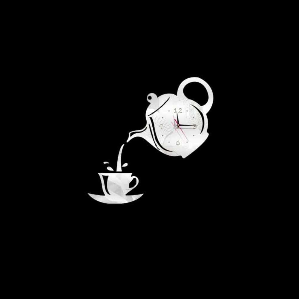 Photo of Creative 3D Teapot Cup Acrylic Mirror Wall Clock Stickers DIY Home Decor Decals – Silver
