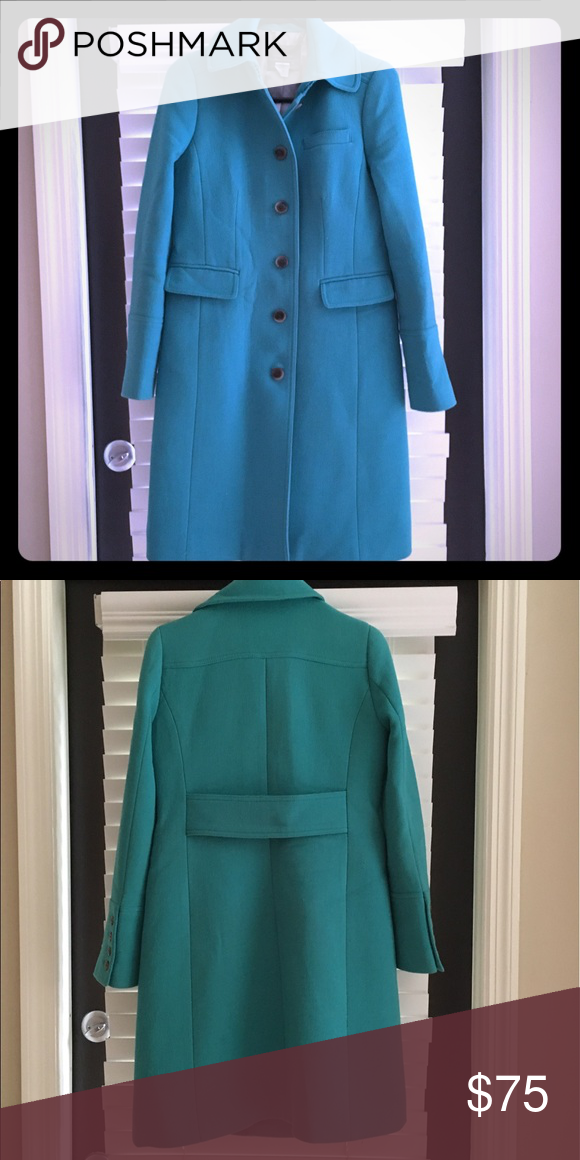 J Crew Double Cloth Lady Day Coat W Thinsulate Aqua Turquoise Color