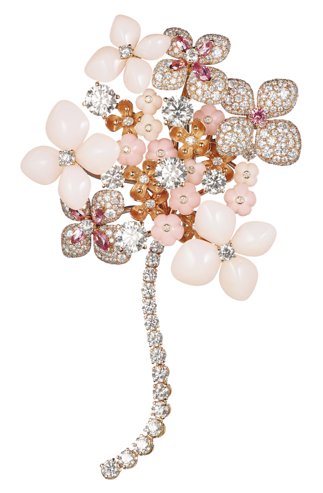 CHAUMET - Hortensia Brooch in pink gold, pink & angel-skin opal, pink tourmalines, pink sapphire, diamonds