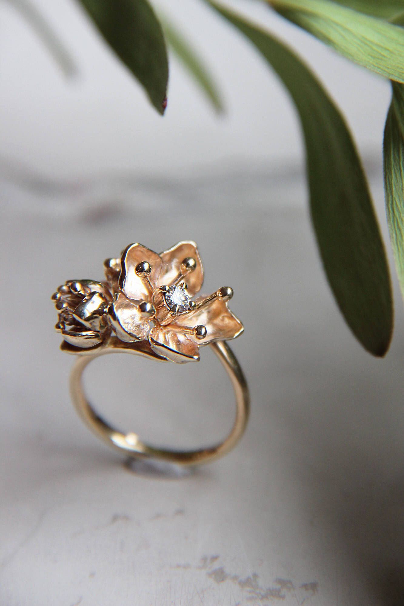 Sakura flower ring, diamond engagement ring, unique ring