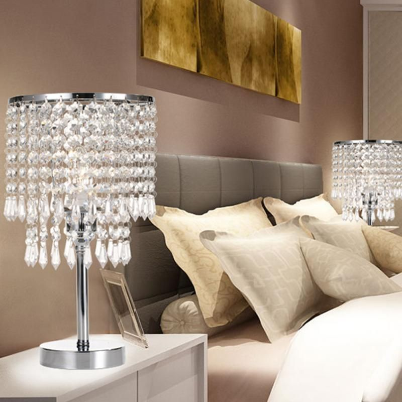 Elegant Crystal Table Lamp Button Switch Incandescent Lamp Energy