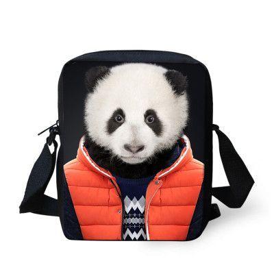 Small Canvas Messenger Bags for Men Cute Kids 3D Animal Dog Printing Crossbody Bag Panda Tiger Head Mini Travel Handbags