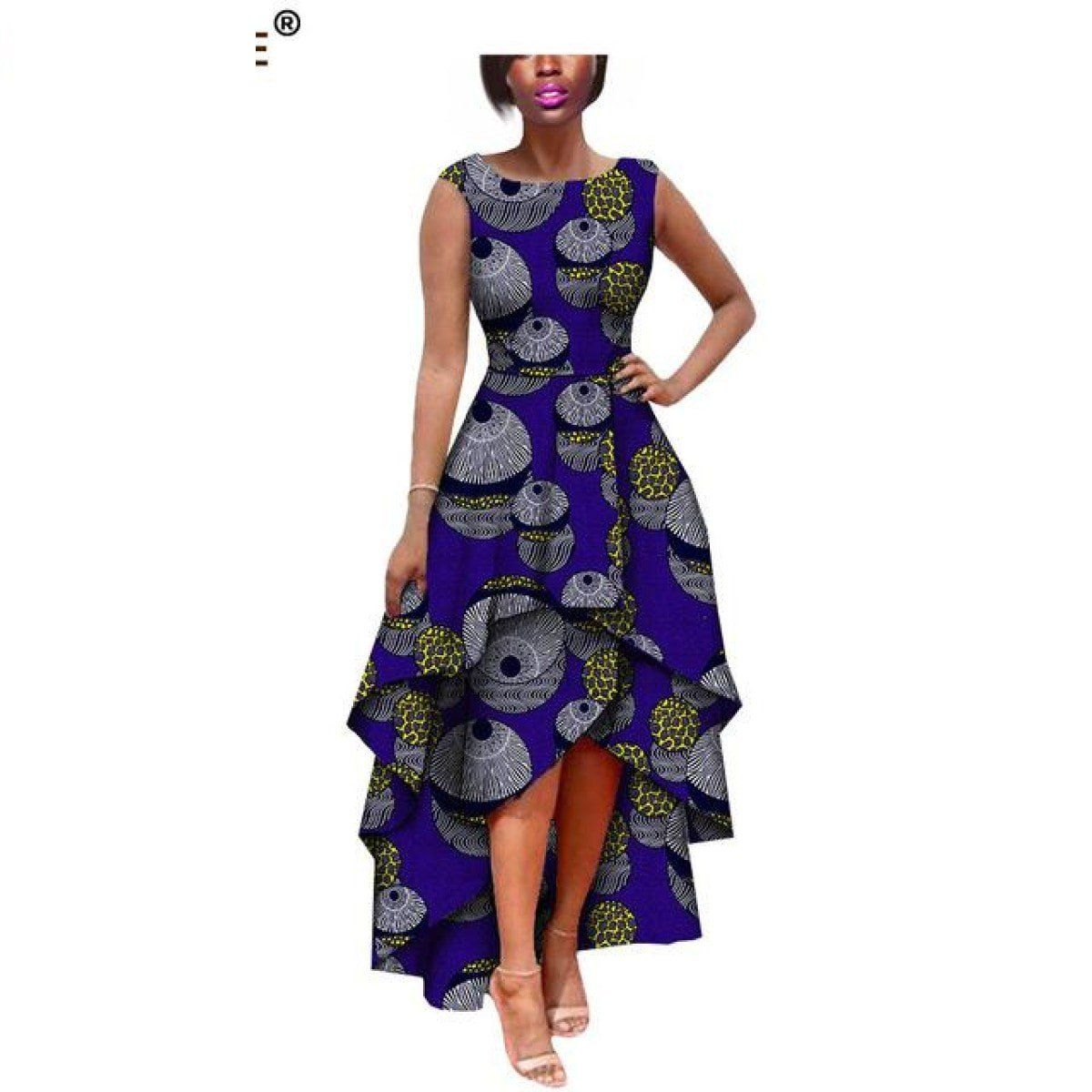 African Clothing Sleeveless Pleated Long Dress Women Cotton Print Kitenge X11402