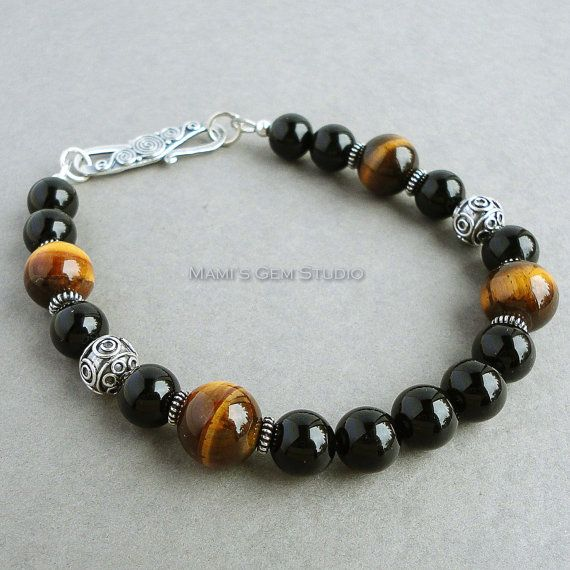 Zwarte Onyx bruin Tiger Eye Mens armband Bali door mamisgemstudio
