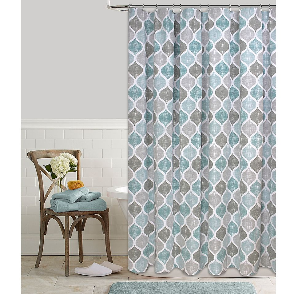 Priya Ogee 72 Inch X 96 Inch Shower Curtain In Aqua Beach Theme
