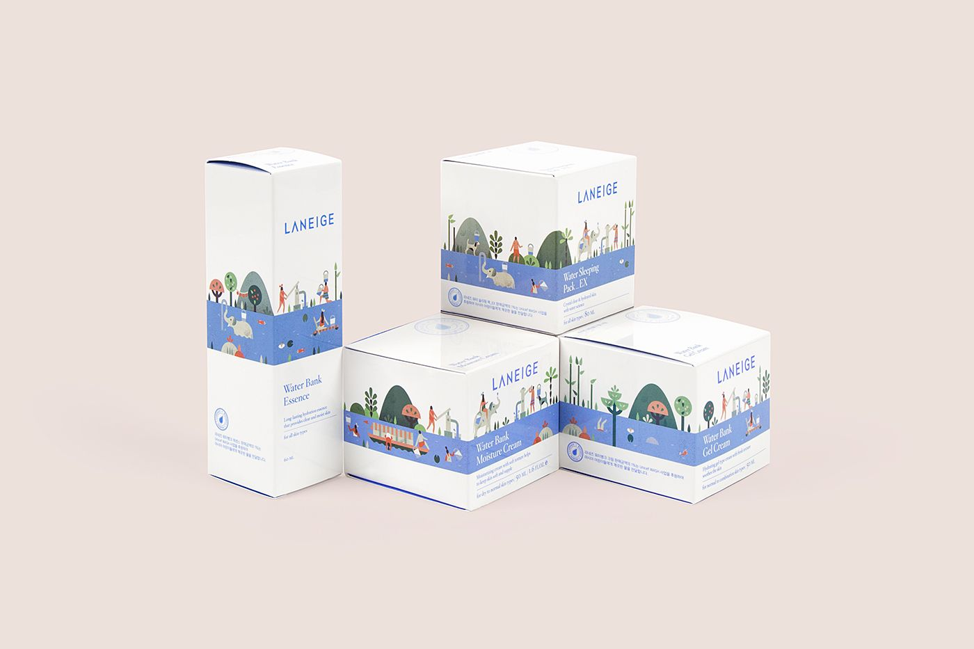 Packaging illustrations for Laneige, a South Korean cosmetics brand owned by Amore Pacific. The special edition packaging and related Waterful campaign aimed to bring awareness to the company's program constructing water tanks in African countries sufferi…