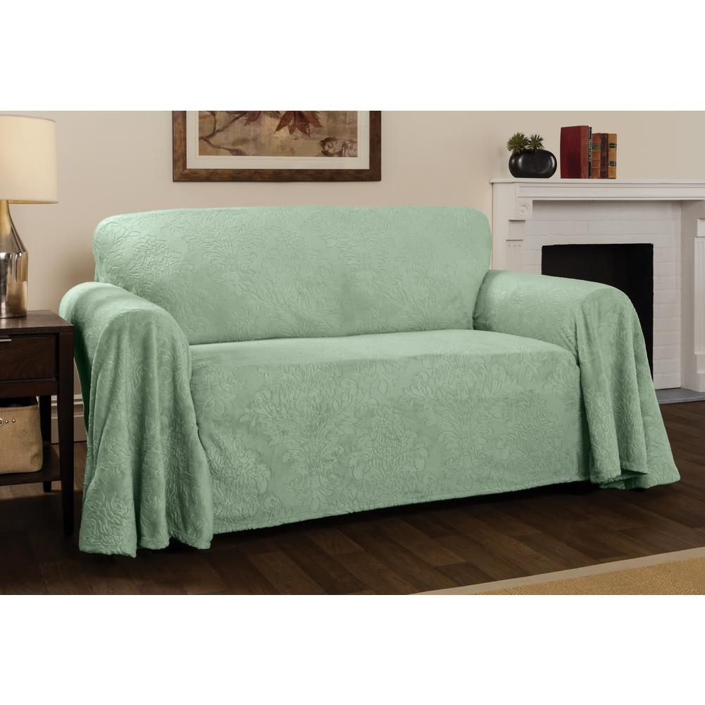 Innovative Textile Solutions Plush Sage Damask Throw Sofa