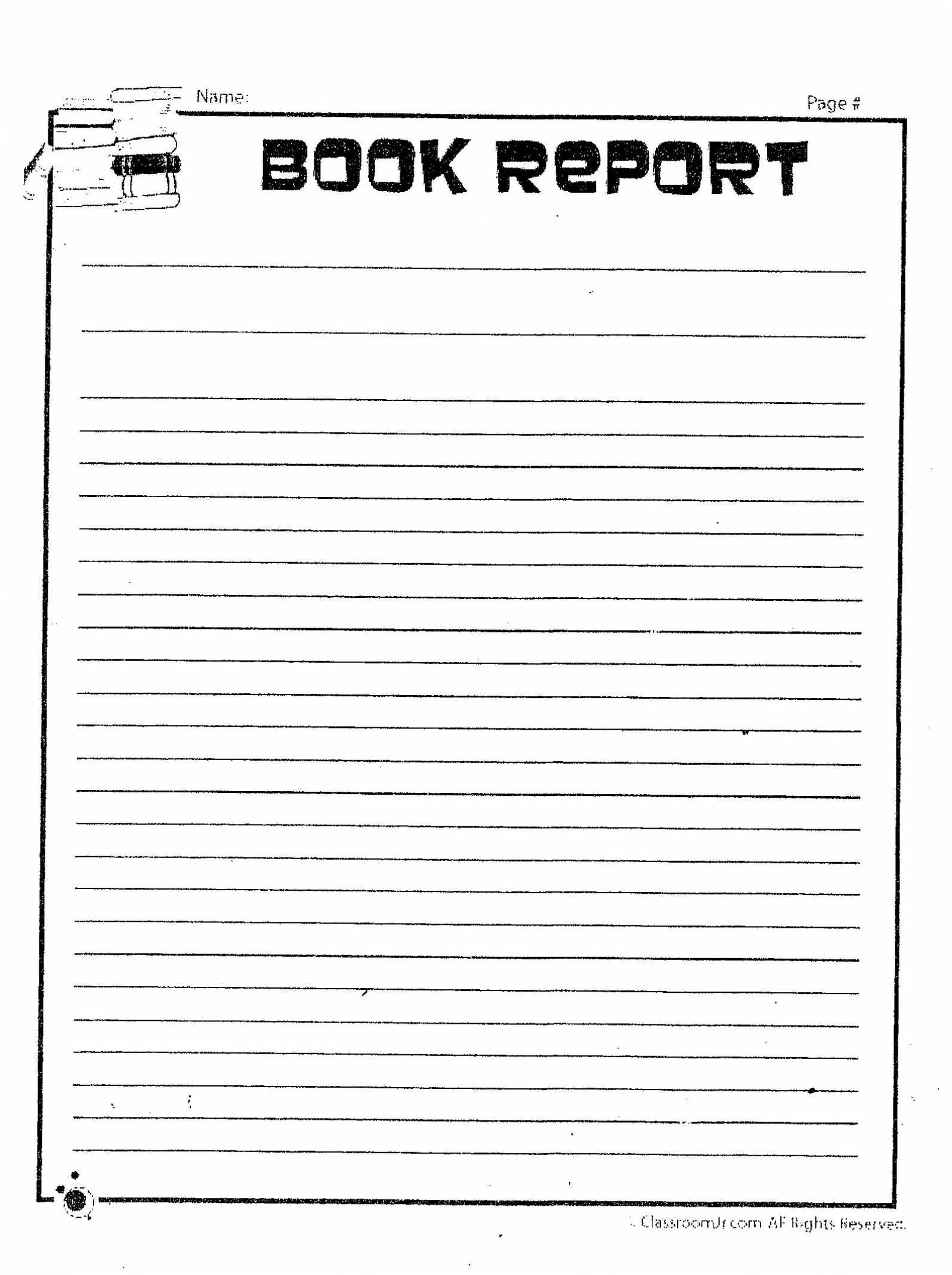 Printable Book Report Template