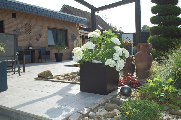 block pflanzk bel terrasse und hortensien. Black Bedroom Furniture Sets. Home Design Ideas