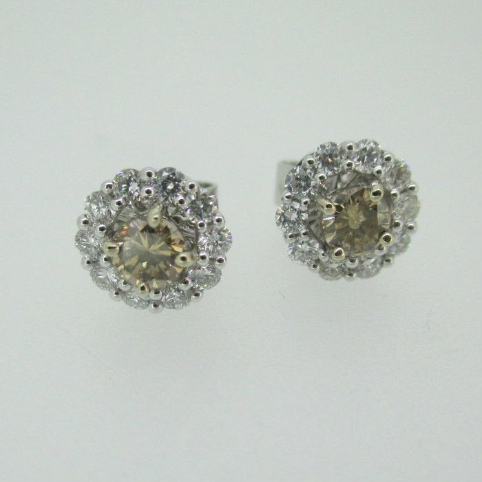 diamond champaigne cognac stud earrings champagne colored front pave pav