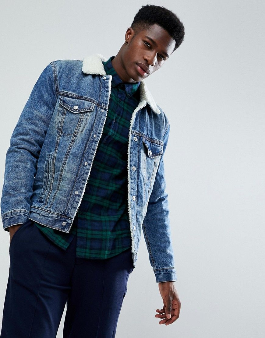67d8cf2a2398 Stradivarius Denim Jacket With Fleece Lining In Mid Wash | style ...