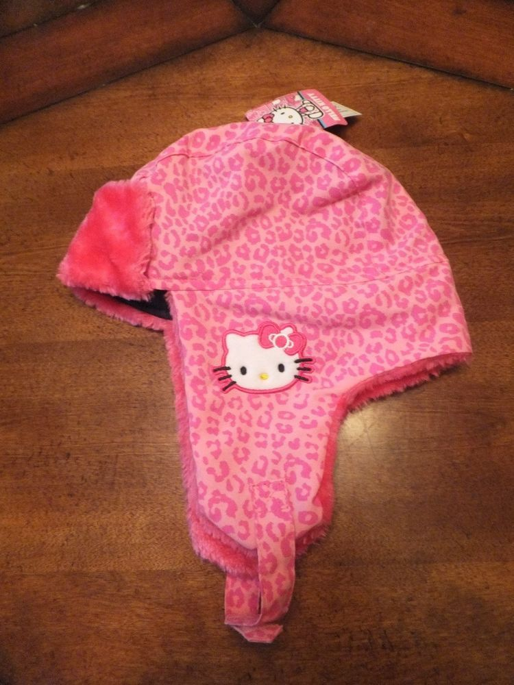 6da92b8c8 NWT Girls Hello Kitty Trapper Hat Pink Cheetah Leopard Print & Faux Fur  Trim #HelloKitty #AviatorTrapper