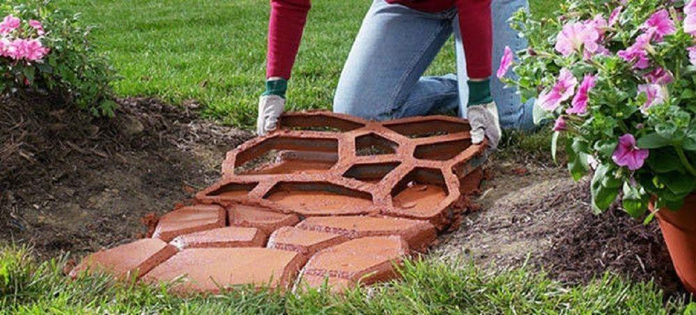 Betonform zum selber gießen von Gehweg für Garten Rasen Pflastersteine