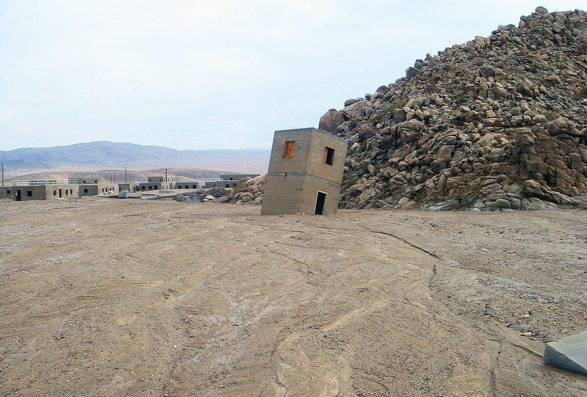 The monsoon deluge toppled a structure of the training village Medina Jabal at the National Training Center, on September 2013. The interior of some structures in the training area were inundated with up to four feet of mud.