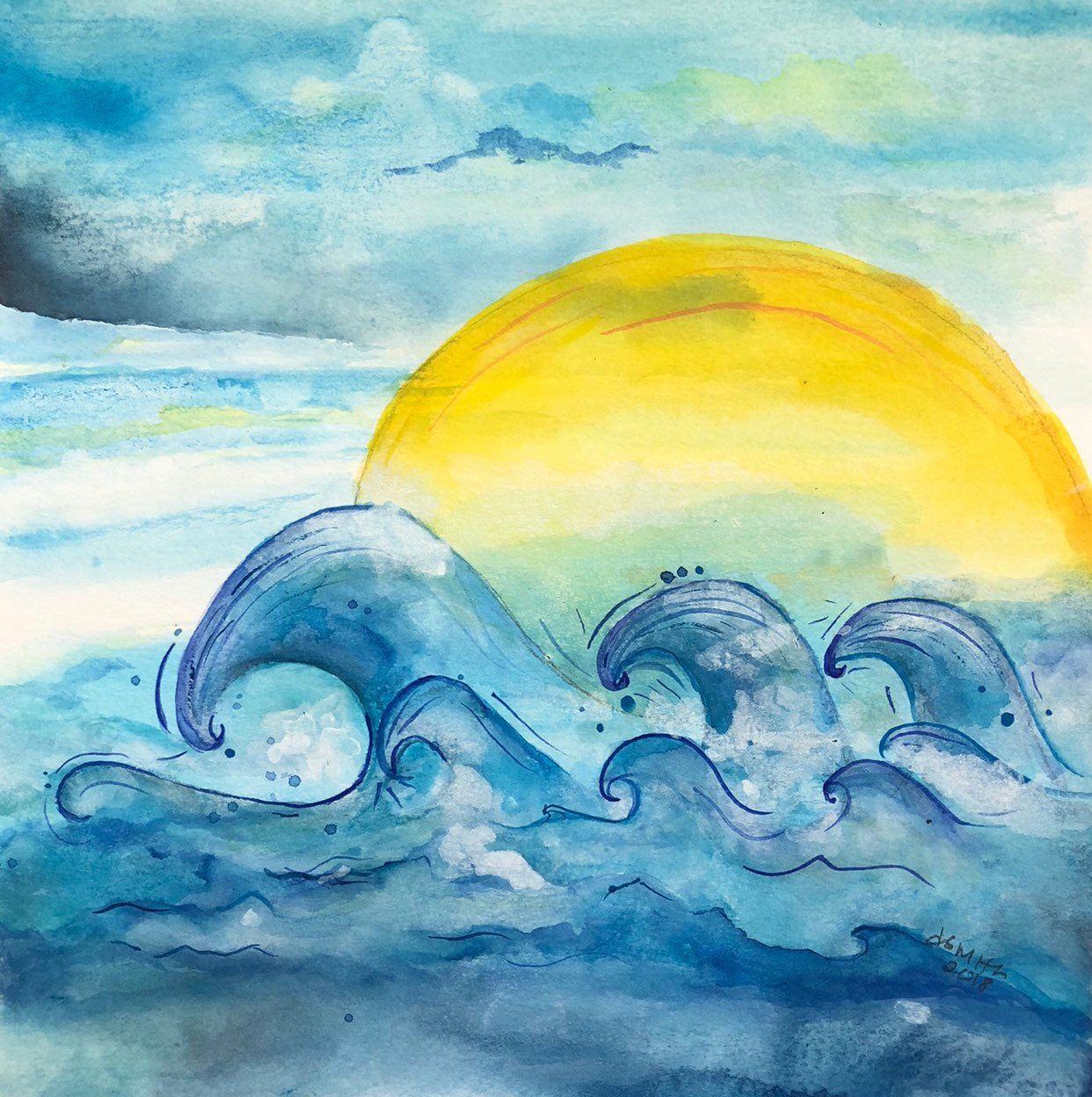 Sun Water Waves Original Watercolor Painting Abstract Unique