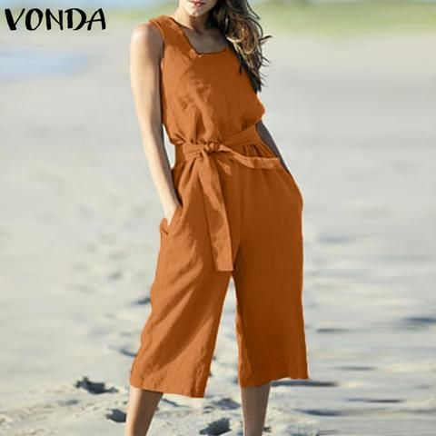 4db3d7d706 VONDA Rompers Womens Jumpsuit Summer Cotton Vintage Sleeveless Belt Wide  Leg Pants Playsuit Casual LooseOveralls Plus Size