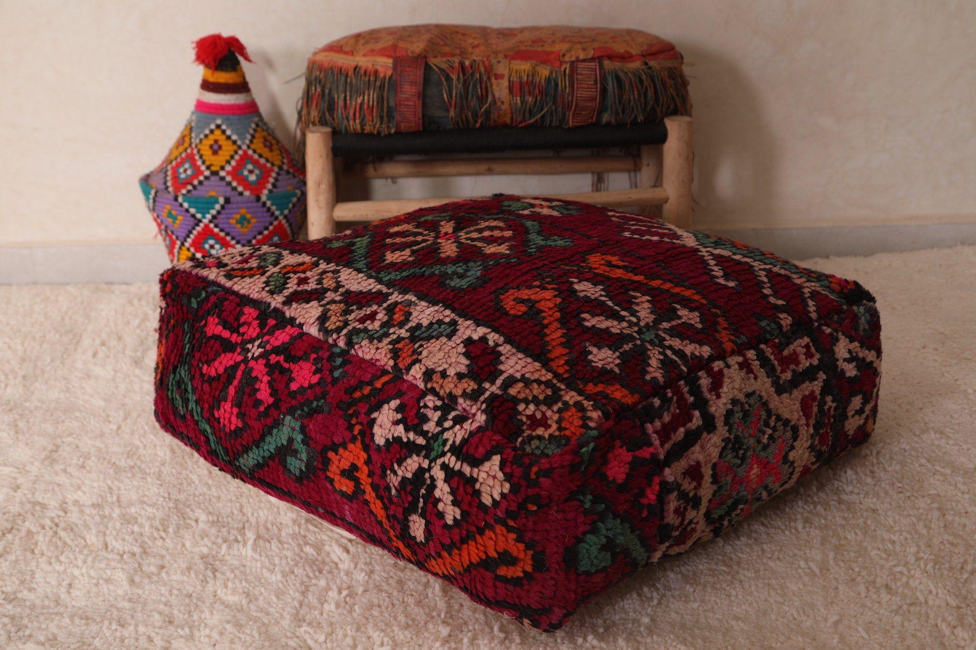 ottoman pouf square pouf wool pouf handmade pouf Moroccan Ottoman  pouf Pillow from Hand Woven Berber rugs and carpets moroccan pouf
