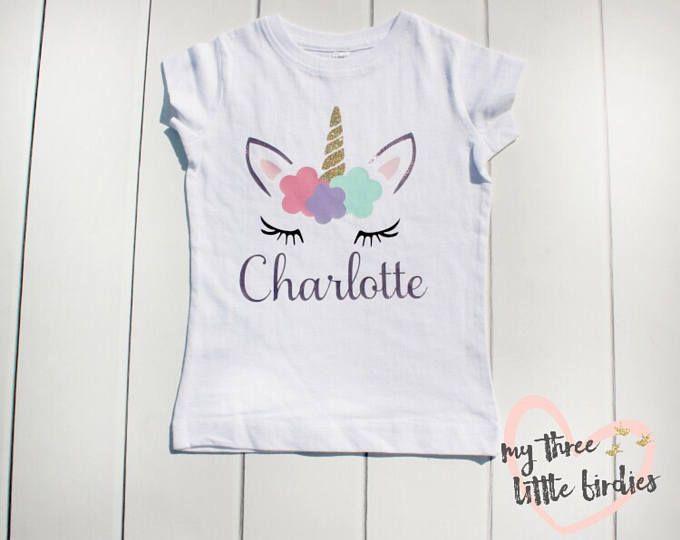 Girl Unicorn Birthday Shirt Custom For Girls Personalized Toddler