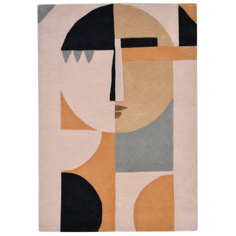 Modern Abstract Wool Figurative Female Face Rug 5 7 In 2020 Abstract Rug Abstract Geometric Art