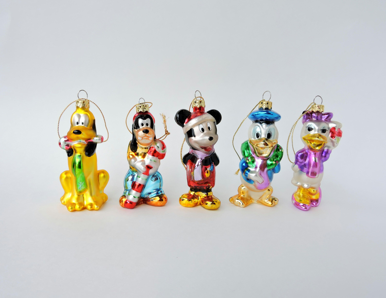 5 Vintage Disney Blown Glass Ornaments Mickey Mouse Pluto Donald Duck Daisy Goofy Disney Ch Disney Christmas Ornaments Disney Christmas Vintage Christmas