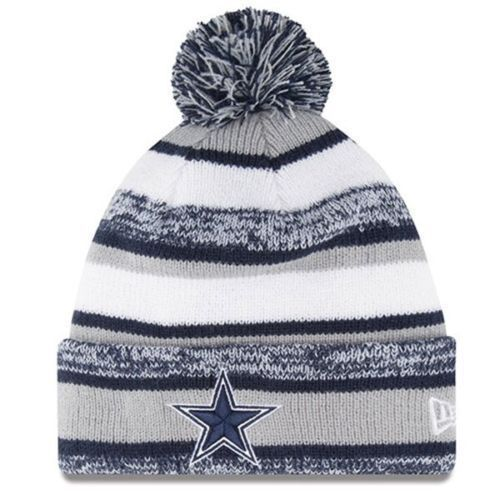 Dallas Cowboys 2015 New Era On Field Sideline Pom Knit Beanie Cap Hat Gray  NFL in Football-NFL  32b6789df83