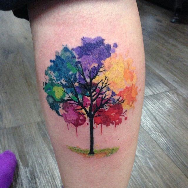 Maybe New Start Rainbow Tattoos Watercolor Tattoo Tree Tree