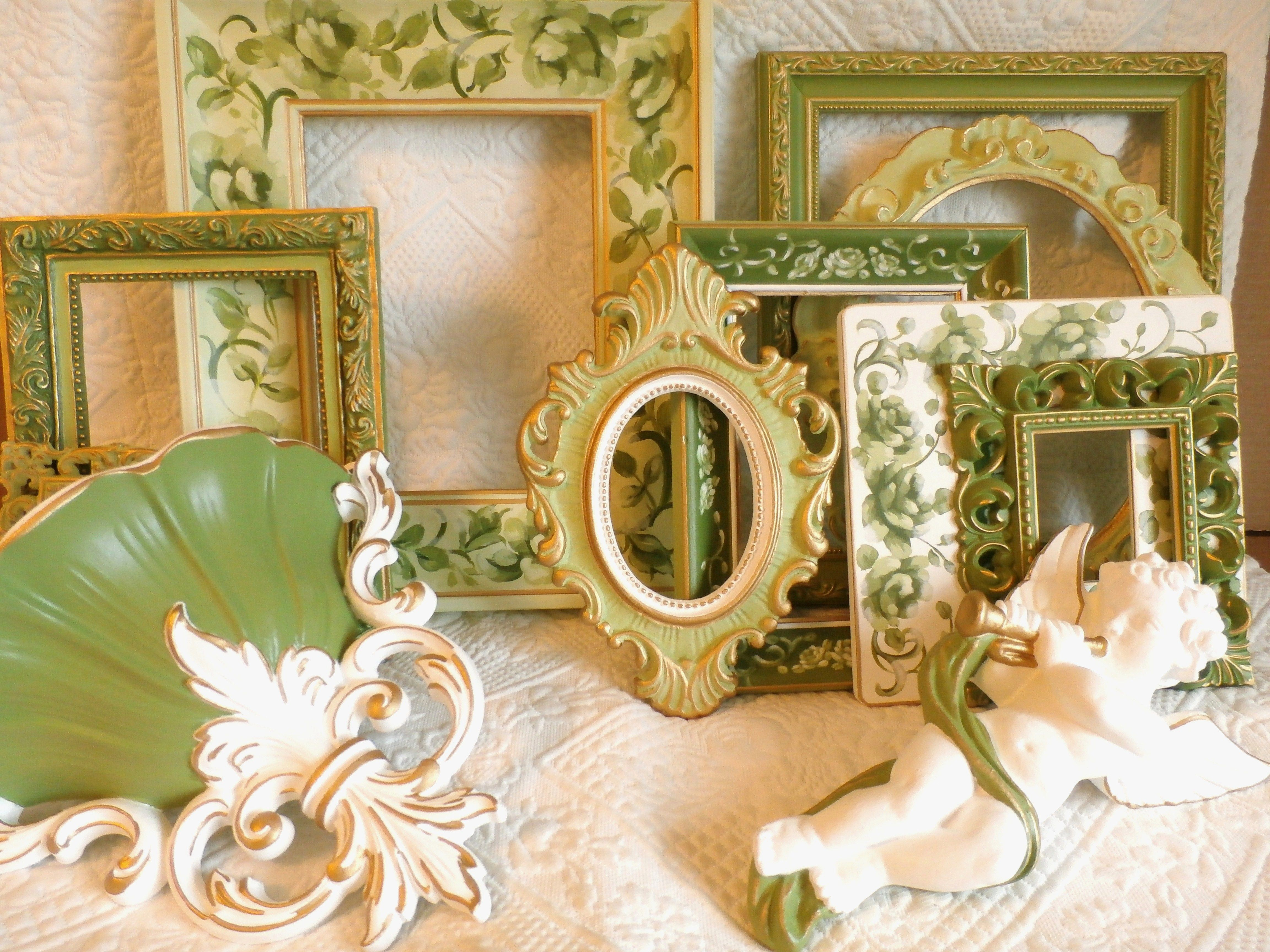 Green Floral Picture Frame Wall Grouping Shabby Chic
