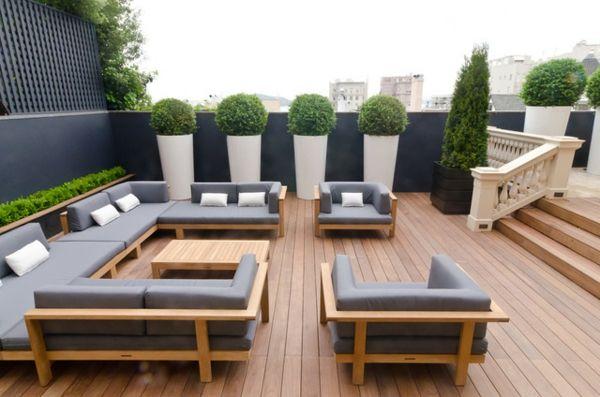 terrasse möbel tisch sessel grau design holz | zaun | pinterest, Gartenarbeit ideen