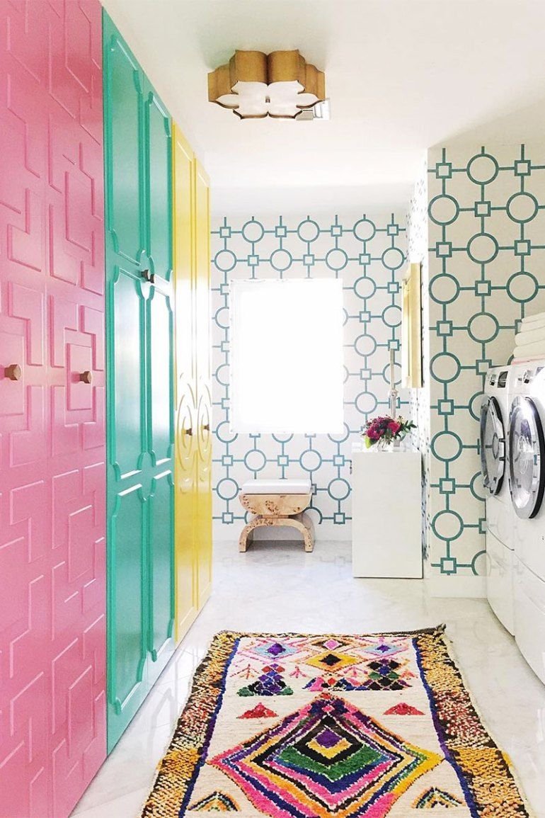 Our Colorful Laundry Room Inspired By Palm Springs Doors | Kelly Golightly