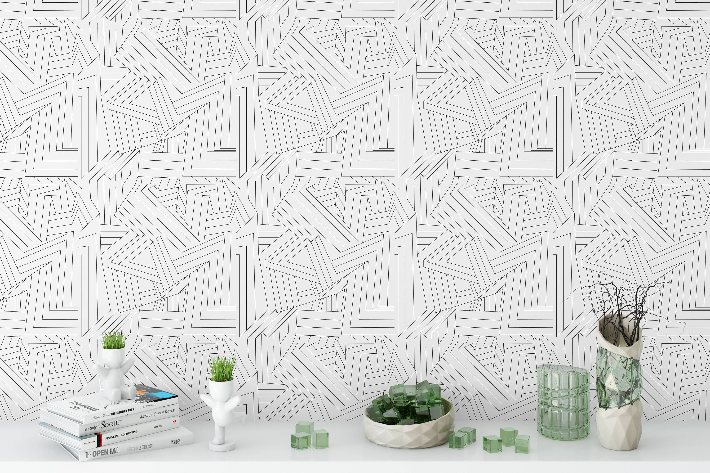 Removable Wallpaper Black White Lines Peel Stick Wallpaper Self Adhesive Temporary Decal Linear S Boho Wallpaper Peel And Stick Wallpaper Removable Wallpaper