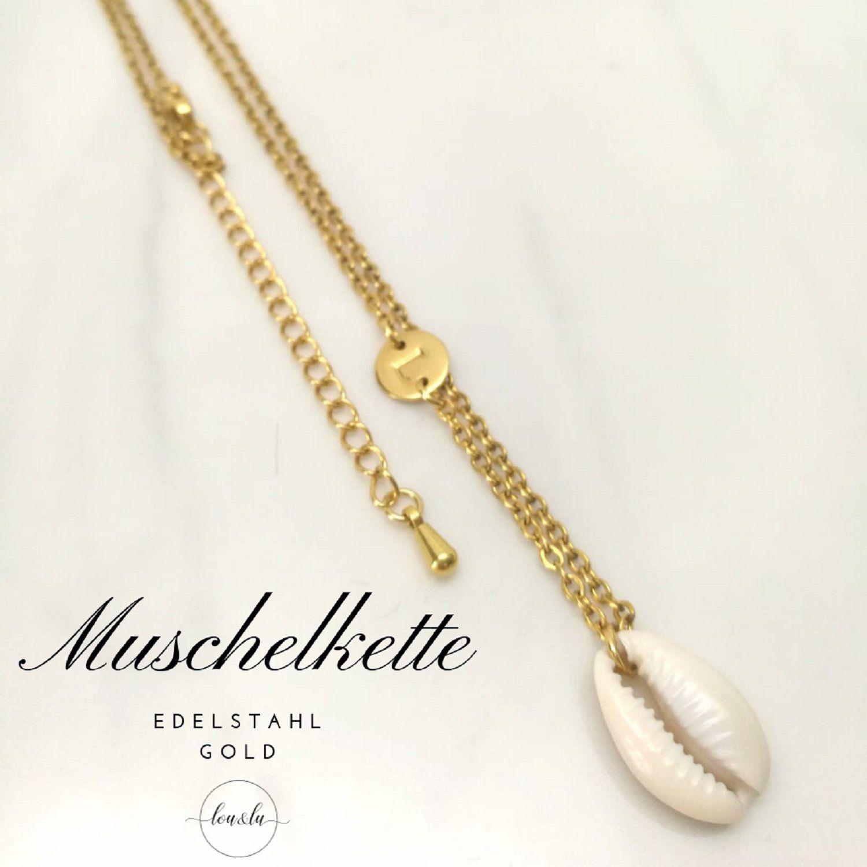Muschelkette in Gold oder Silber, Kauri Muschel +