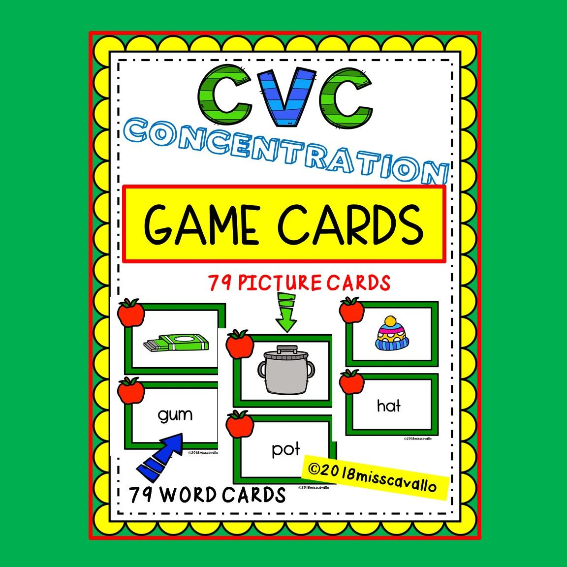 Cvc concentration game cards word cards card games cvc