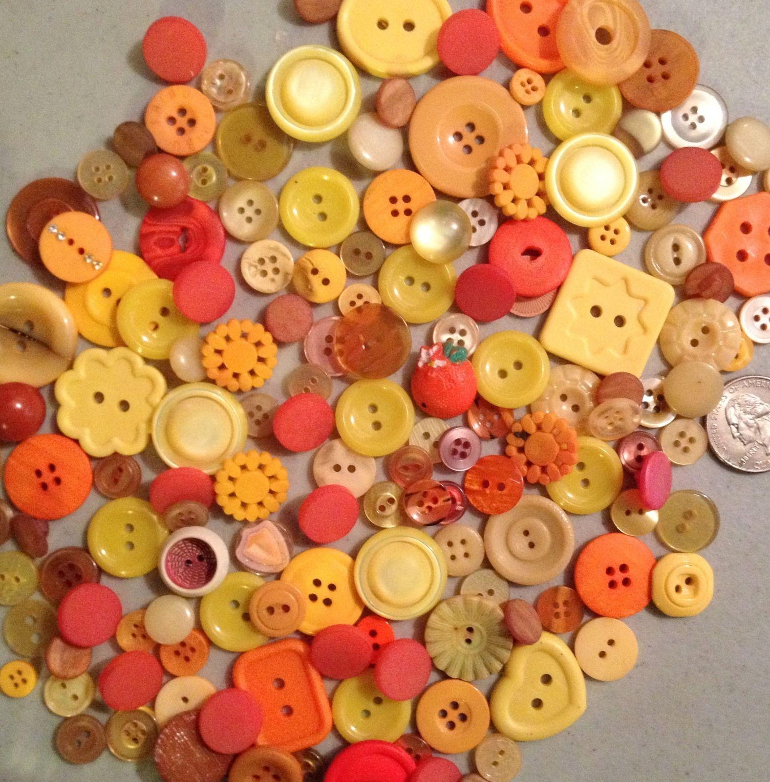 Vintage Orange Yellow Tone 150pc Button Lot Plastic Variety | eBay