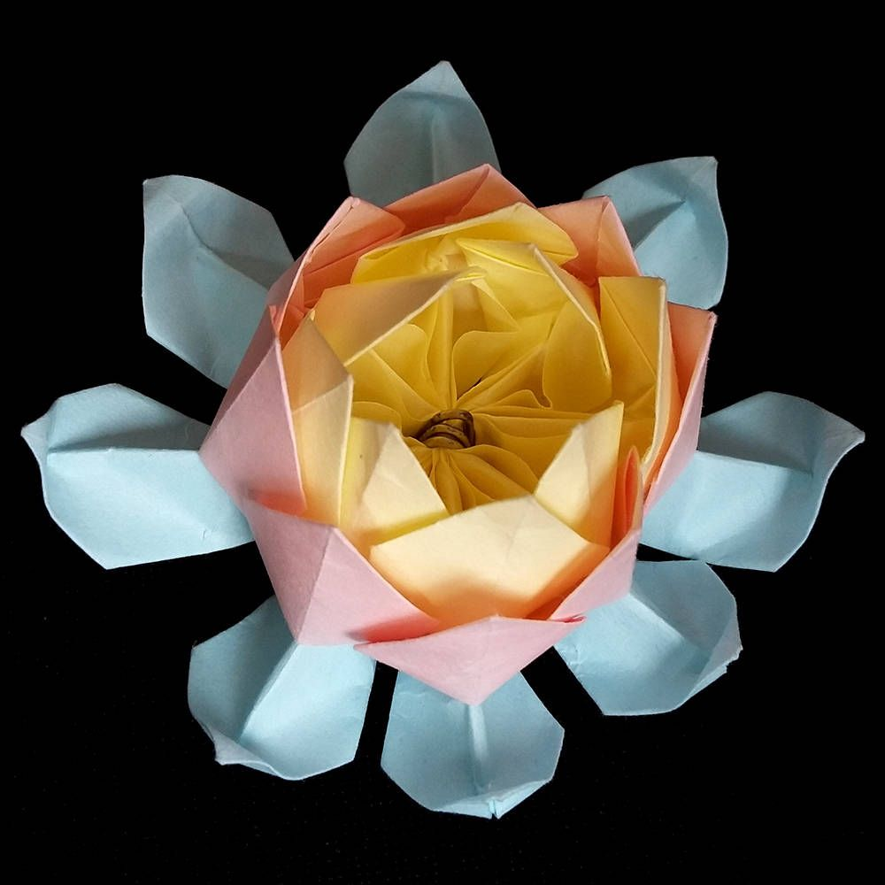 Origami Lotus Paper Flower Art Gifts Sculpture Water Lily Origami