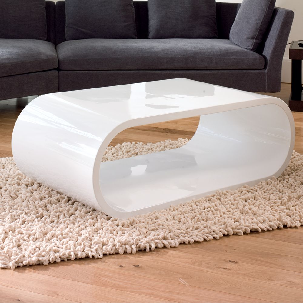 Modern Oval White High Gloss Glossy Lacquer Coffee Table: Modern Oval Gloss Coffee Table Super White Color Zambezi